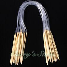 """18 sizes 18Pairs 16"""" 40cm Circular Bamboo Knitting Needles Sets"""