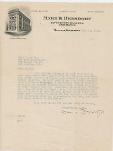 D4186 BILLHEAD LETTERHEAD MEMPHIS TENN  MARX & BENSDORF  BANKERS 1915 LOT OF 4