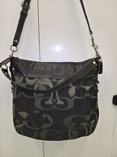 * Coach Zoe Black/Gray Lilac Signature Canvas Leather Tote Shoulder Bag F14710