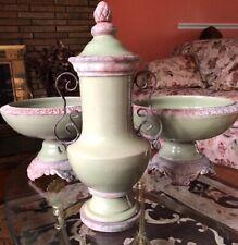 SOFT Green Cracked Glazed URN Vase&2pedestal Planter Set Rustic Metal Hand