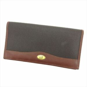 Dunhill Wallet Purse Long Wallet Black Brown Mens Authentic Used T6248