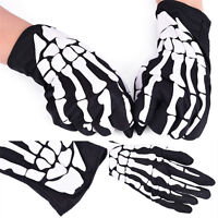Black Dancing Skeleton Gloves Devil Skull Gloves Halloween Costume Dance C6