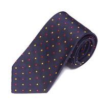 J. PRESS Striking Navy Blue Yellow Red Polka Dot Design Men's Silk Neck Tie