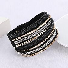 2018 Multilayer Leather Wristband Cuff Punk Bangle Crystal Rhinestone Bracelet Black