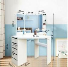 NEW White Corner Dressing Table Mirror Set Dresser Modern Make Up Jewellery