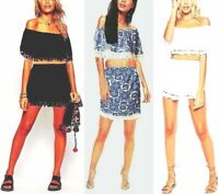Ladies Womens Fringed tassel Bardot Crop Top and Mini Skirt Co-Ord Set Size 8-14