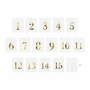 Wedding Table Number Bottle Stickers | 1-15 Gold Labels Centrepiece Decoration