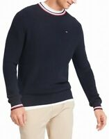 Tommy Hilfiger Mens Sweater Blue Size 2XL Crewneck Tipped Knit Pullover $89 078