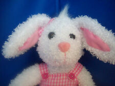 "EASTER BUNNY Looped Plush Pink & White Gingham Dress 16""   NEW"