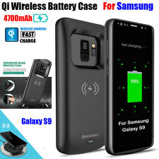 For Samsung S9 4700mAh Qi Wireless Fast Charging Battery Power Bank Charger Case