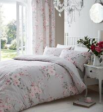 Catherine Lansfield Canterbury reversibile grigio e rosa floreale Set Piumone Doppio