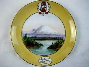 CLASSY ANTIQUE DATED 1912 SEATTLE GOLDEN POTLATCH ADVERTISING PLATE MT. RAINIER!