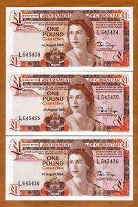 SET Gibraltar, 3 x 1 pound, 1988,  P-20e, Consecutive Trio, Young QEII, UNC