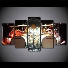 Music Drum in Light 5 Panels Canvas Artwork Wall Printing Picture Home Decor