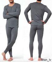 Mens Gray 2pc Thermal Set Long John Underwear Waffle Knit Top and Bottom Warm