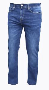 Designer Panno Lusso Jeans Slim Fit Mens Dark Blue Jeans Stretch Denim