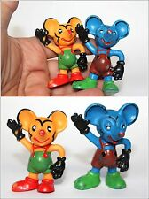2 Two Vintage German Ddr Mickey Mouse Small Rubber Toys Figurines 1970's
