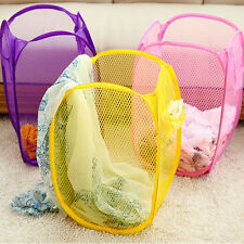 2017 Foldable Pop Up Washing Clothes Laundry Basket Bin Hamper Mesh Storage Bag