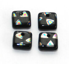 4 CZECH GLASS BLACK / SILVER SQUARE LENTIL BEADS WITH OFFSET HOLE, 6 X 6 MM