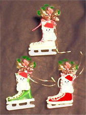 Enesco Skate With Snowman Ornaments 3 Color Choices - Price Reduced - Was $3.95