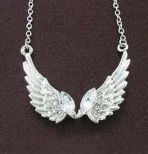 Fairy Angel Wings Clear Crystal Rhinestone Necklace Chain Charm Pendant CZ Stone