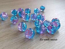 50 perles craquelées en verre  rondes ROSE et BLEU 8mm