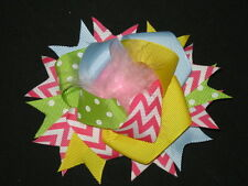 """New """"Easter Chevron Poof"""" Fur Hairbow Alligator Clips Girls Party Ribbon Bows"""