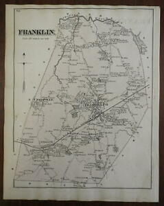 Franklin Township Massachusetts Unionville 1876 Norfolk detailed home owners map