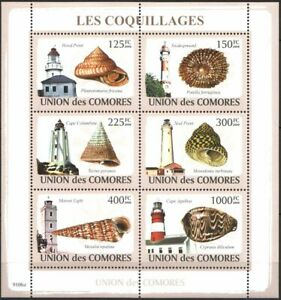 Mint stamps in miniature sheet  Lighouses Shells 2009 Comoros Comores   avdpz
