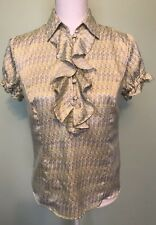 Worthington Ruffles Short Sleeve Dress Shirt Women's Size 4 Yellow and Gray