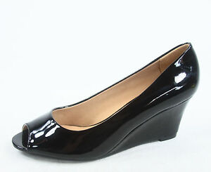 NEW Women's Patent Open Peep Toe  Low Wedge Heels Pump Sandal Shoes Size 5 - 10