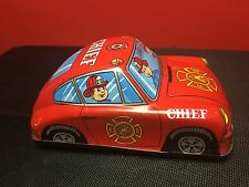 """VINTAGE JAPANESE """"K"""" TOYS TIN LITHOGRAPH FIRE CHIEF FRICTION CAR IN GOOD COND"""