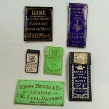 group of 6 NEEDLE PACKETS SEWING ANTIQUE SMALL very early