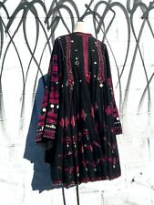Vintage Bedouin Boho Tribal Ethnic Embroidered Coin Embellished Dress Free Size