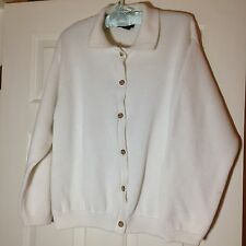 'Lands' End' White 100% Cotton Collared Cardigan Sweater - Size M (10-12) - VGUC
