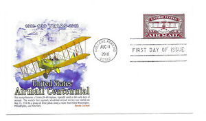 5282 US Air Mail Centennial, (red), Panda Cachets,  FDC