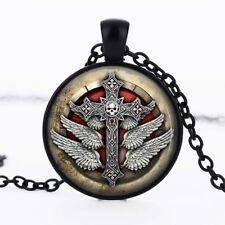 Gothic Cross photo dome Black Cabochon Glass Necklace chain Pendant