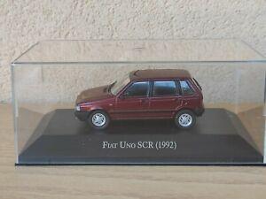 Fiat Uno SCR 1.6 1992 1/43 Metal Die Cast Modellino Con Teca On Plexiglas