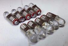 10x 12V E5 LES Lilliput LED Yellow Miniature Screw 00 OO HO Scale Signal Bulbs