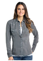 Panhandle Slim Women's Grey Snap Up Western Shirt R4S9425