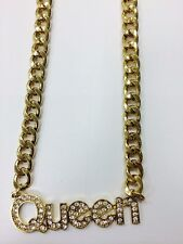 Fashion Gold METAL Hip Hop QUEEN Rhinestone Chunky Chain Necklace