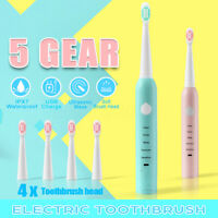 5 Mode Ultrasonic Sonic Electric Toothbrush 5V USB Rechargeable With Brush