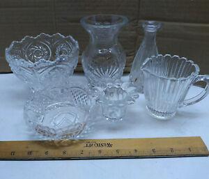Imitation Crystal Decorative Glass Mini Vase Jar Oil Candle Holder Bowl 6 Pcs