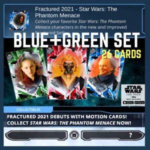FRACTURED-PHANTOM MENACE-BLUE+GREEN SET-26 CARDS-TOPPS STAR WARS CARD TRADER