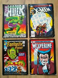Marvel Comic Covers Poster Set of 4 - A3 Double Sided, 2014 Hulk Avengers X-Men