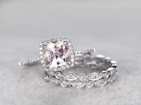 2Ct Cushion Cut Peach Morganite Halo Engagement Ring Set 14K White Gold Over