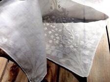 2 Vintage Off White Lace Cotton Handmade Lace Handkerchiefs Batiste Monogrammed
