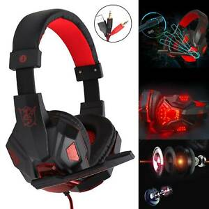 Gaming Headset USB Wired Over LED Headphones Stereo with Mic For Xbox PC