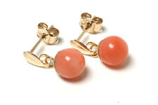 9ct Gold Coral 5mm Ball drop Earrings Gift Boxed Made in UK