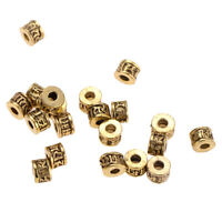 20 Pcs 6mm Tibetan Gold Loose Spacers Beads for Necklaces DIY Jewelry Making